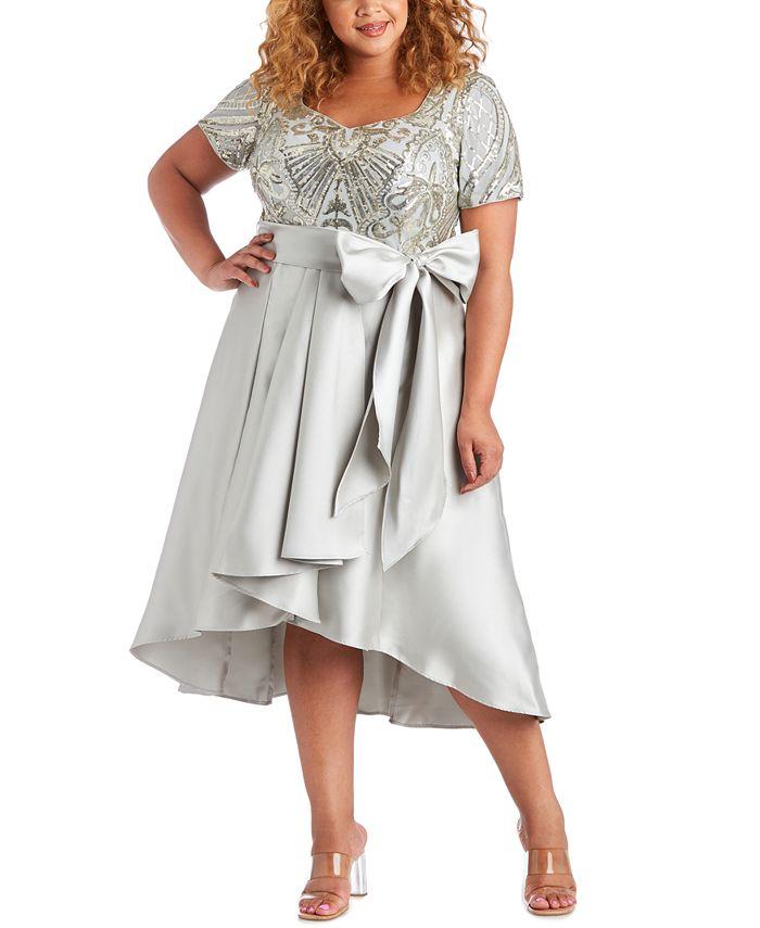 R & M Richards - Plus Size Embellished High-Low Dress