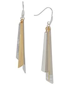Two-Tone Geometric Stick Statement Earrings