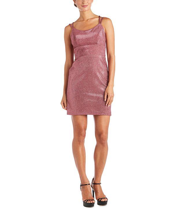 Morgan & Company Juniors' Sherri Lace-Up Metallic Dress