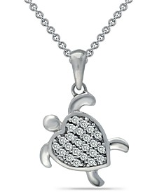 "Cubic Zirconia Sea Turtle Pendant Necklace in Sterling Silver, 16"" + 2"" extender, Created for Macy's"