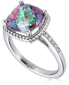 Mystic Topaz (3-1/2 ct. t.w.) & Diamond (1/20 ct. t.w.) Statement Ring in Sterling Silver