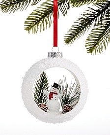 Chalet You Stay, Hollow Glass Ball Ornament with Snowman and Tree Scene, Created for Macy's