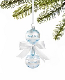 Baby's First Glass Blue Rattle Ornament, Created for Macy's