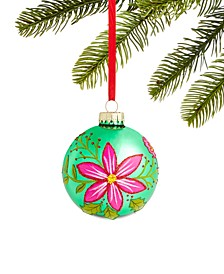 Bugs & Botanical Pink and Green Glass Ball Ornament, Created for Macy's