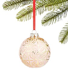 Burgundy & Blush Glass Ball with Molded Leaf Detail Ornament, Created for Macy's
