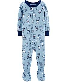Baby Boys Dog-Print Cotton Footed Pajamas