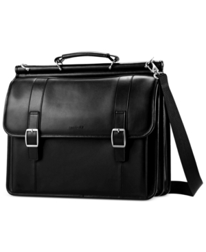 Samsonite Leather Dowel Flapover Laptop Briefcase