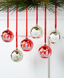 Christmas Cheer,  Set of 6 Shatterproof Scenic Red & Gold Ornaments, Created for Macy's