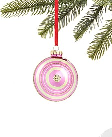 Merry & Brightest Glass Ball Ornament with Pink & Gold Stripes, Created for Macy's