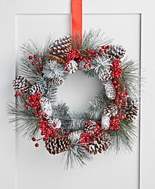 Farmhouse Snowy Pine Cone and Red Berry Wreath, Created for Macy's