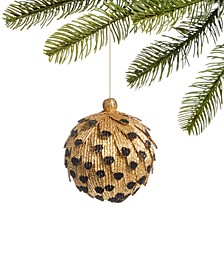 Safari Glittered Black and Gold Ball Ornament, Created for Macy's
