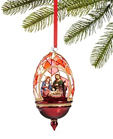 Renaissance Holy Family in Stained Glass Dome Ornament, Created for Macy's