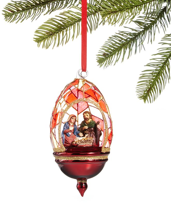 Holiday Lane Renaissance Holy Family in Stained Glass Dome Ornament, Created for Macy's