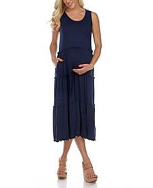 Maternity Plus Size Scoop Neck Tiered Midi Dress
