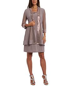 R & M Richards Plus Size Embellished Dress & Illusion Jacket