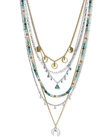 """Two-Tone Beaded Multi-Strand Statement Necklace, 18"""" + 3"""" extender"""