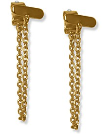 Gold-Tone Bar & Chain Front-and-Back Earrings