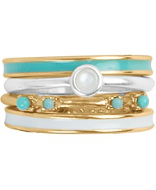 Two-Tone 4-Pc. Set Mother-of-Pearl & Bead Stack Rings