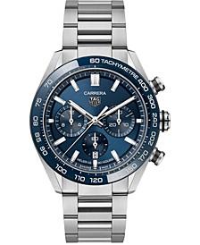 Men's Swiss Automatic Chonograph Carrera Heuer 02 Stainless Steel Bracelet Watch 44mm