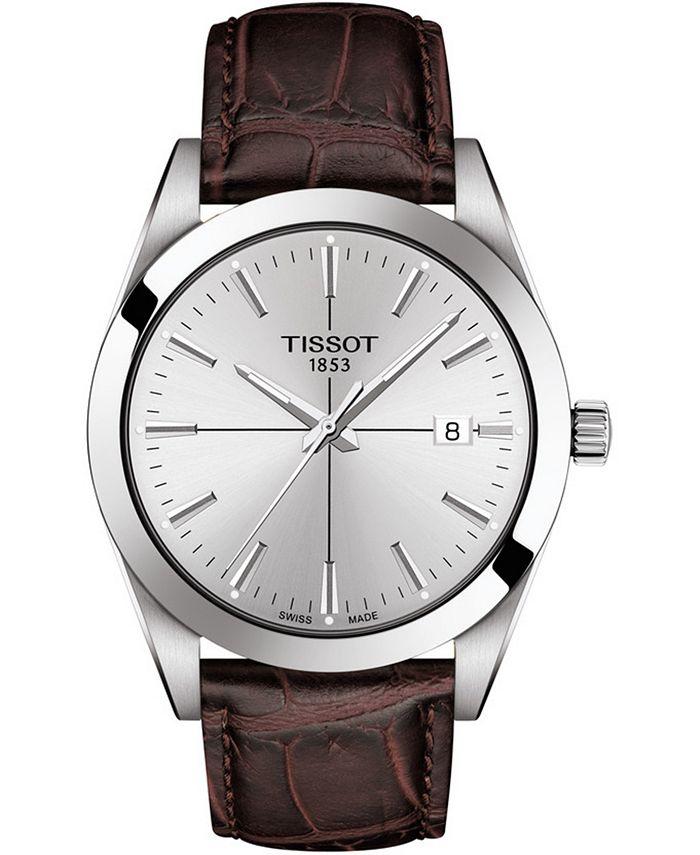 Tissot - Men's Swiss Gentleman Brown Leather Strap Watch 40mm
