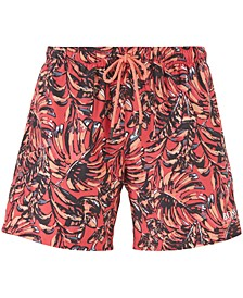 BOSS Men's Leaffish Drawstring-Waist Swim Shorts