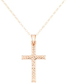 "Textured Cross 18"" Pendant Necklace"