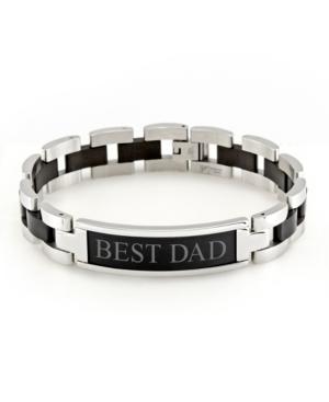 "Men's Engravable ""Best Dad"" Steel Id Bracelet"