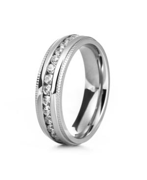 Men's Silver Tone Cubic Zirconia Engravable Eternity Band Ring with Milgrain Edge