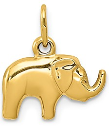 Elephant Charm Pendant in 14k Yellow Gold