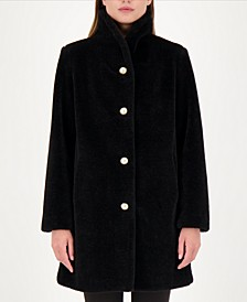 Pearl-Button Teddy Faux-Fur Coat
