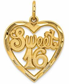 Sweet 16 Heart Charm Pendant in 14k Yellow Gold