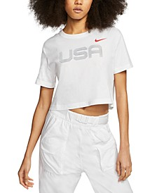 Women's Sportswear Cotton Graphic Cropped T-Shirt