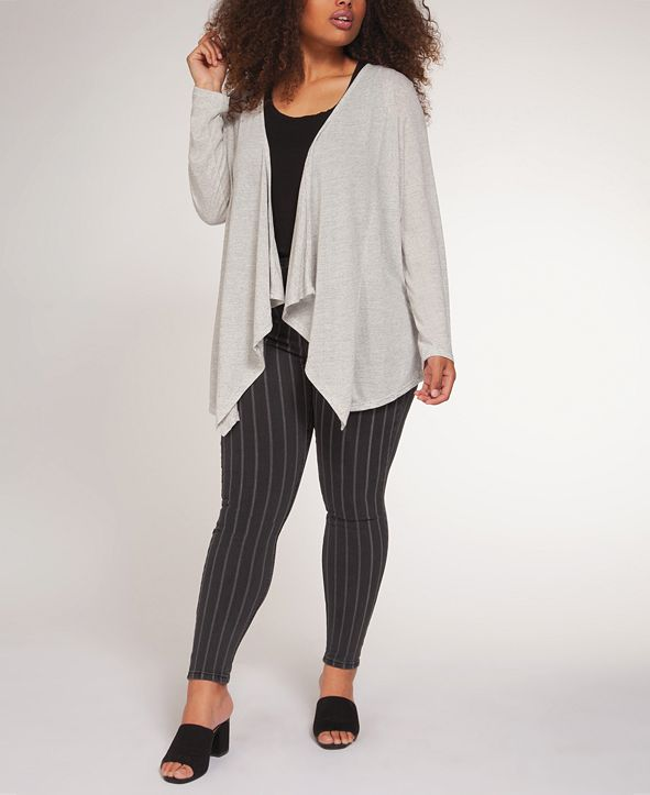 Black Tape Plus Size Waterfall-Front Cardigan