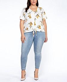 Plus Size Floral-Print Tie-Hem Top