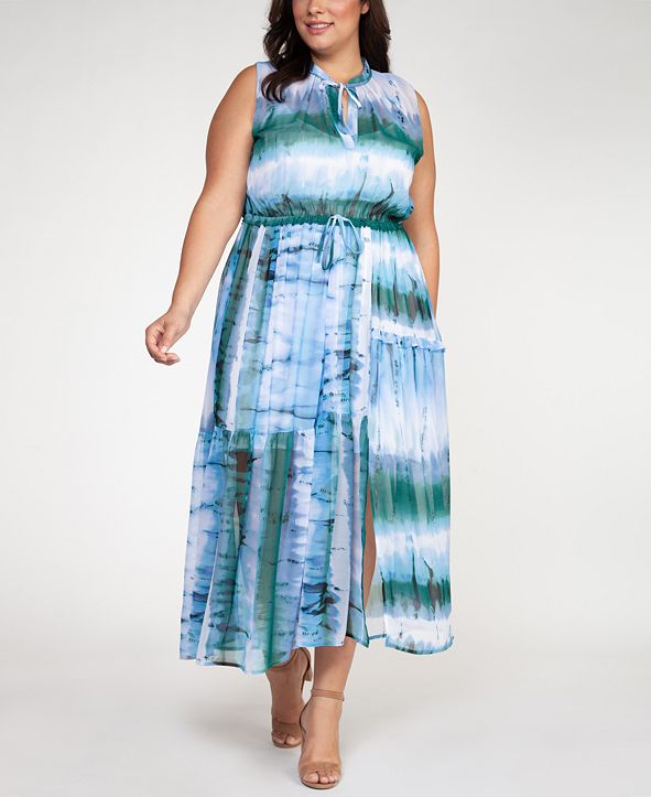 Black Tape Plus Size Tie-Dyed Maxi Dress
