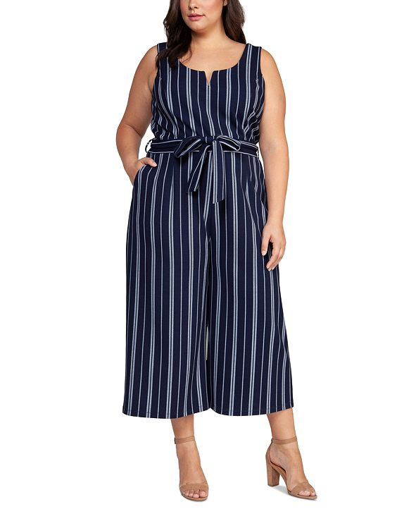 Black Tape Plus Size Belted Striped Cropped Jumpsuit