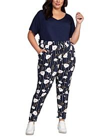 Plus Size Floral-Print Drawstring-Waist Skinny Ankle Pants
