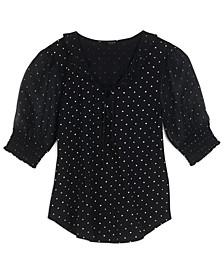 Polka Dot Puff-Sleeve Top