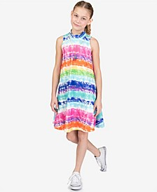 Big Girls Rainbow Tie-Dyed A-Line Dress