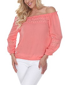 Women's Smocked Neckline Peasant Top