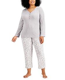 Plus Size Soft Knit Pajama Set, Created for Macy's