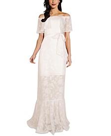 Off-The-Shoulder Floral-Print Burnout Gown