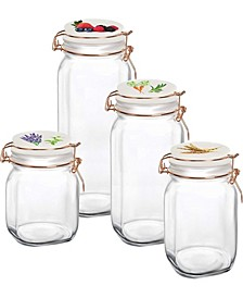 Canister with Vegetable Decal Ceramic Lid, Set of 4