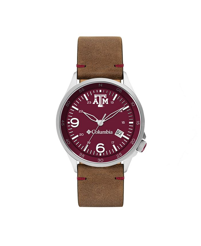 Columbia - Men's Canyon Ridge Texas A M Saddle Leather Watch 45mm