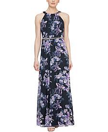 SL Fashions Halter Floral-Print Maxi Gown