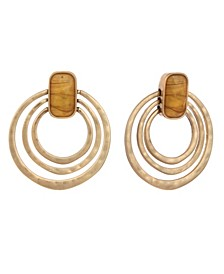 Textured Ring Clip Earrings