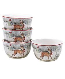 Winter Forest 4 Piece Ice Cream Bowl