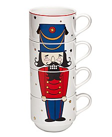Holiday Cheer Nutcracker Stackable Mugs, Set of 4, Created for Macy's