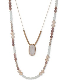 """Gold-Tone Beaded Double-Row Necklace, 36"""" + 3"""" extender"""