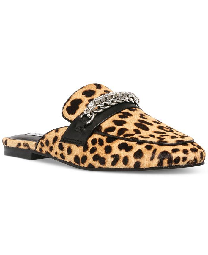 Steve Madden - Women's Kalista Cheetah-Print Chain Mules